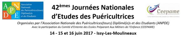 42èmes Journées Nationales d'Études des puéricultrices - Issy les Moulineaux - 14 - 15 - 16 juin 2017